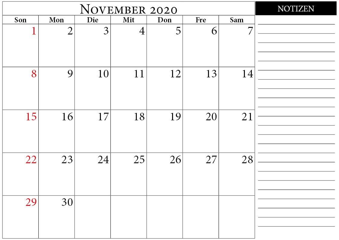 november 2020 kalender notizen