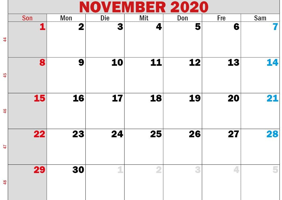 kalender november 2020 zum ausdrucken