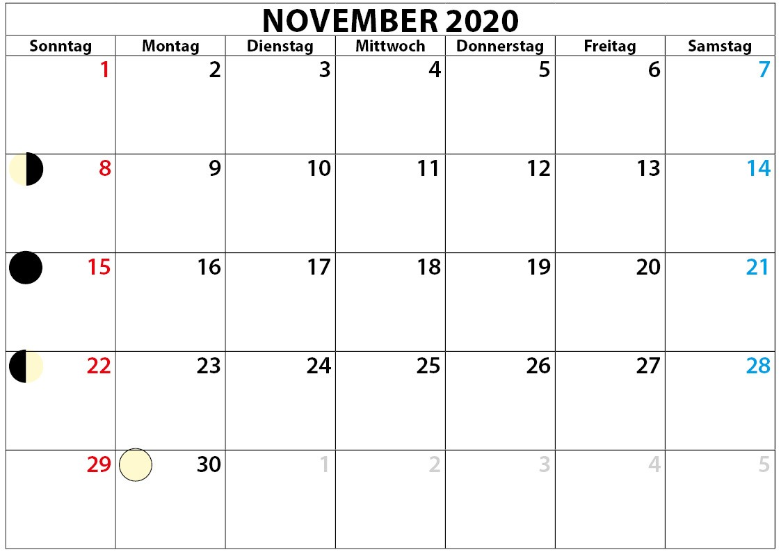 November kalender mit Mondphase