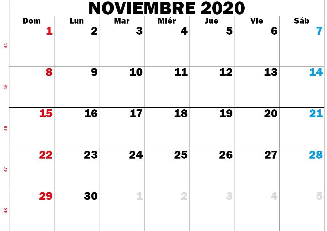 calendario nov 2020