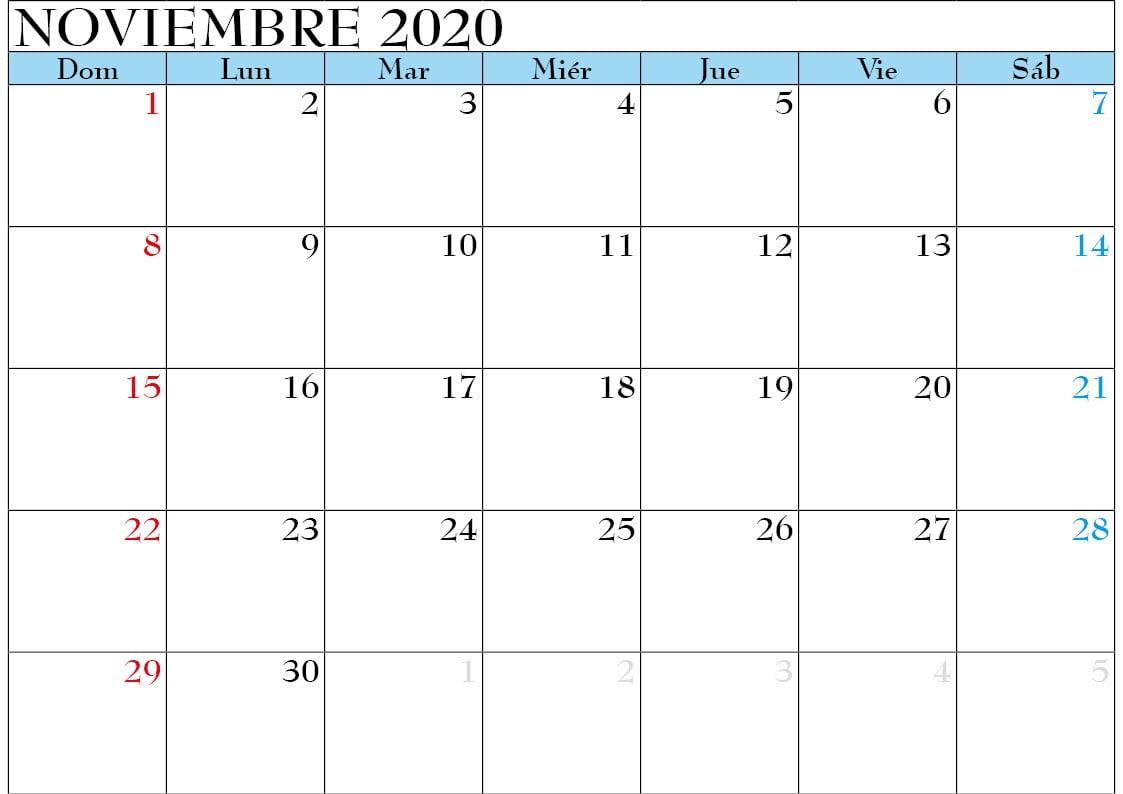calendario noviembre 2020