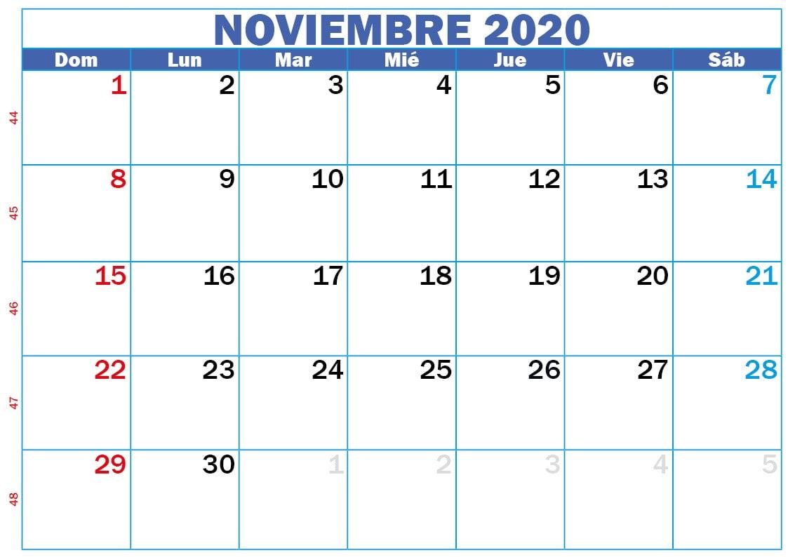 calendario 2020 noviembre para imprimir