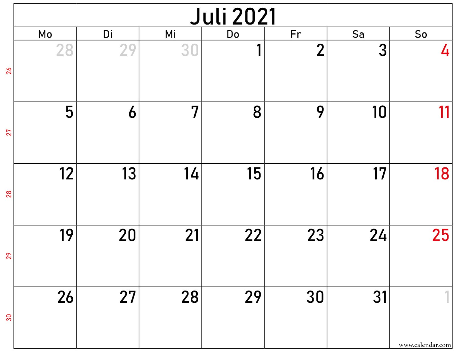 2021 juli kalender