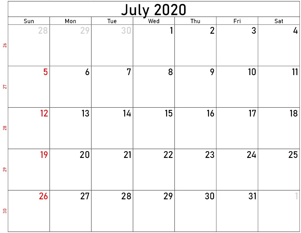 Download calendar july 2020