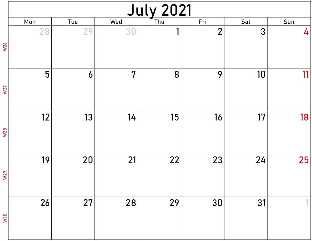 Free july 2021 calendar