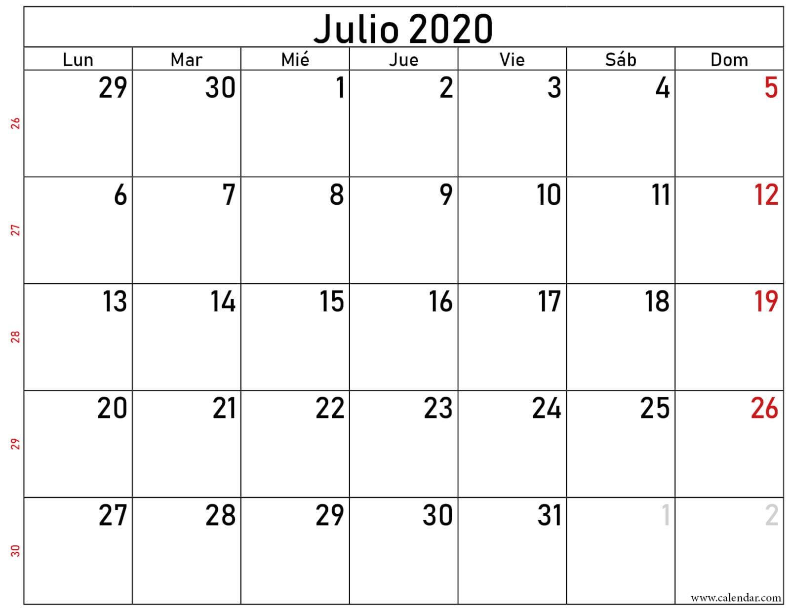 calendario julio 2020 gratis