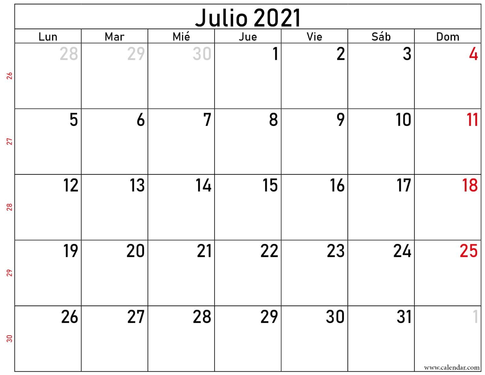 calendario julio 2021 gratis