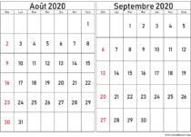 calendrier aout septembre 2020