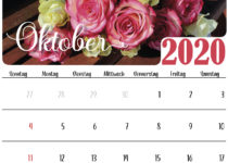Blumen oktober 2020 Kalender
