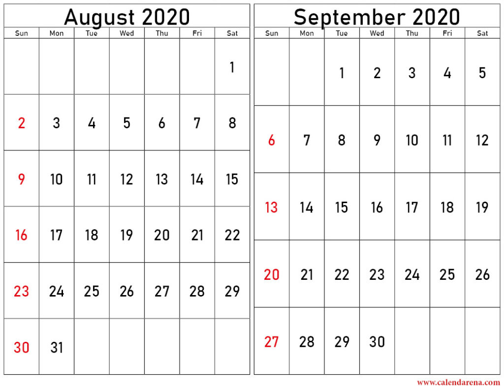 August and september 2020 calendar