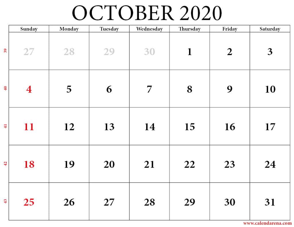 calendar 2020 october with weeks