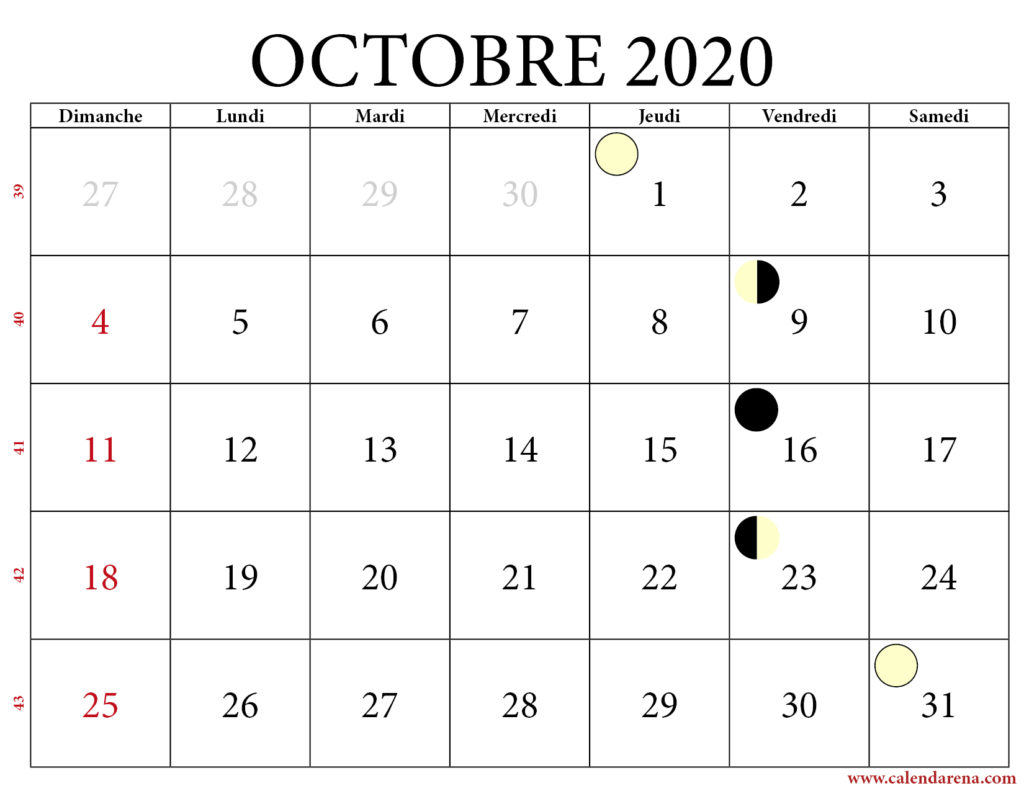 calendrier lunaire octobre 2020