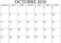 calendrier octobre 2020