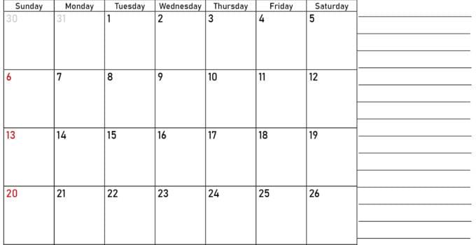 September Calendar 2020 Printable