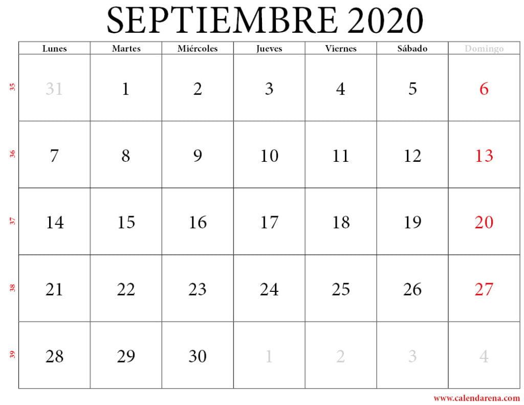 calendario 2020 septiembre