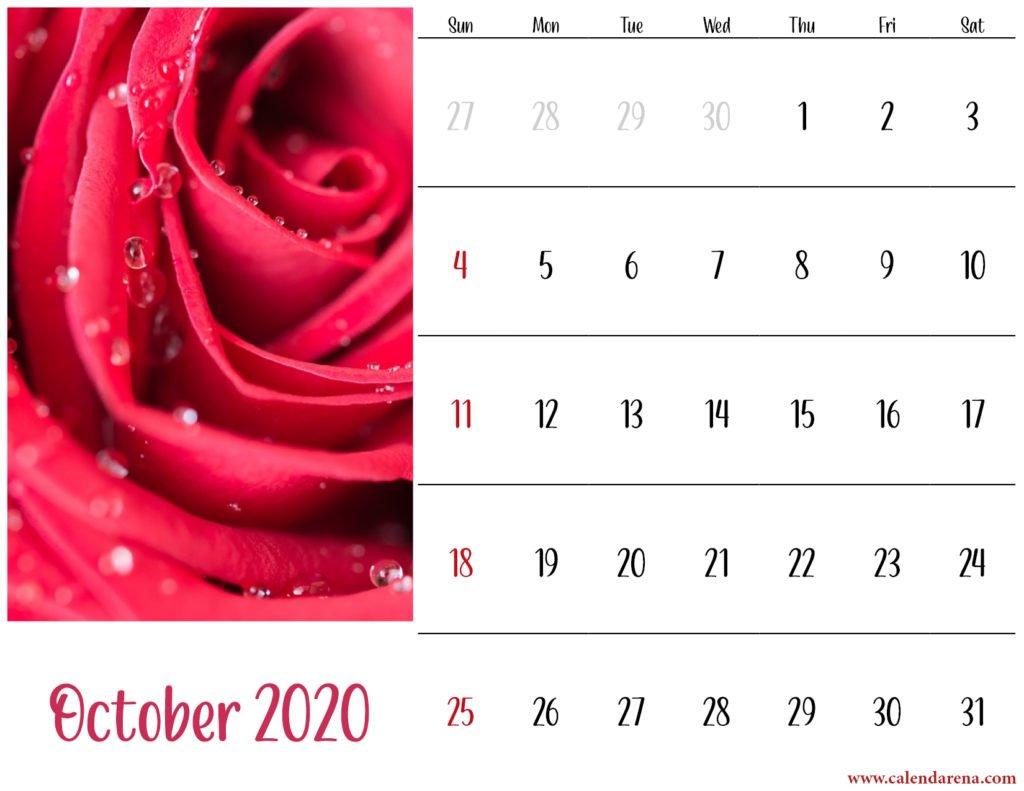 floral october 2020 calendar landscape
