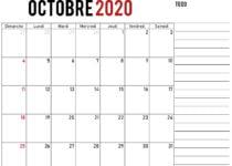 imprimer calendrier octobre 2020