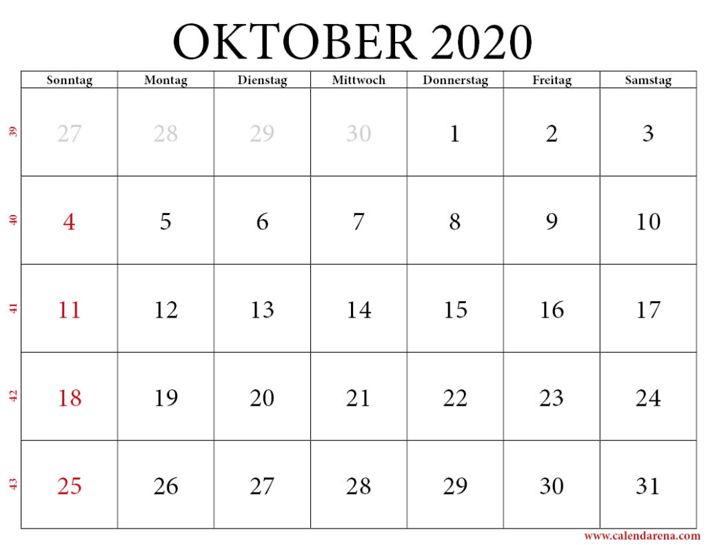 kalender 2020 oktober