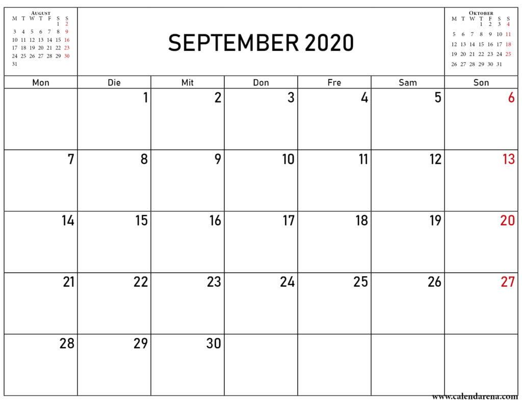 kalender august september 2020
