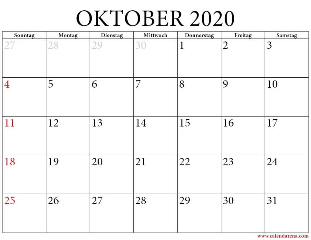 oktober 2020 kalender