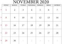 november 2020 calendar printable with weeks