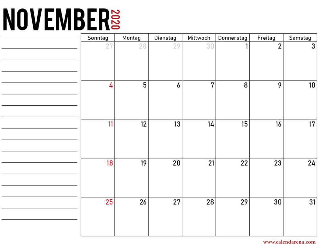 November 2020 kalender drukbare