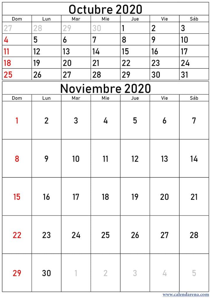 calendario octubre noviembre 2020 retrato