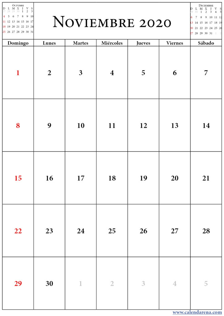 calendario octubre noviembre diciembre 2020 retrato