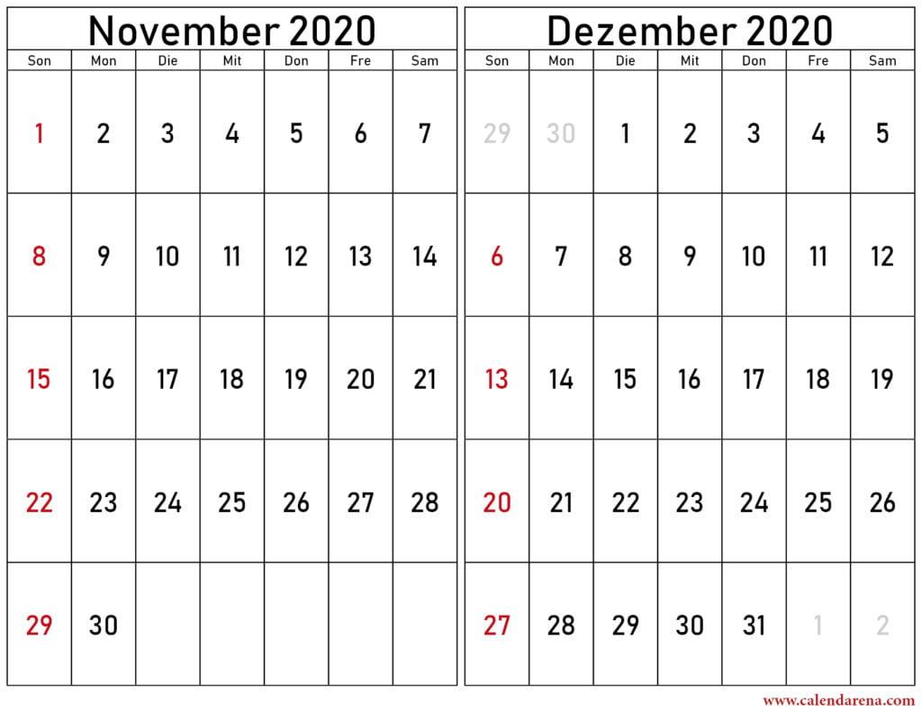 kalender november dezember 2020