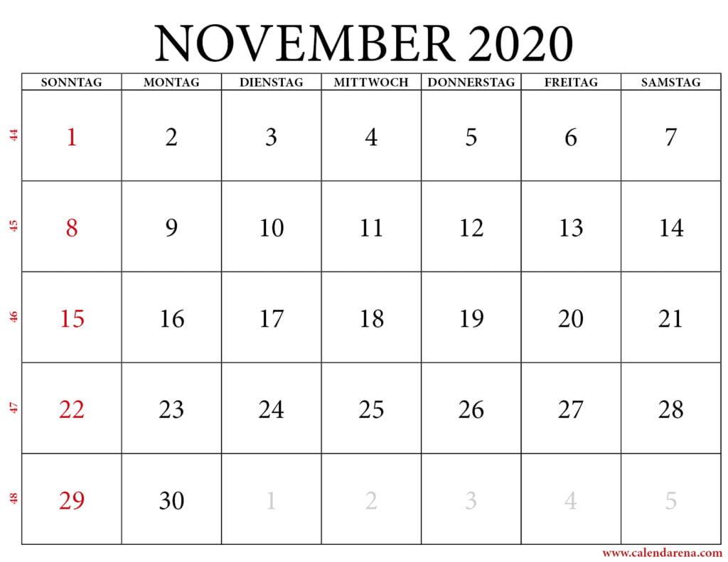 monatsübersicht november 2020