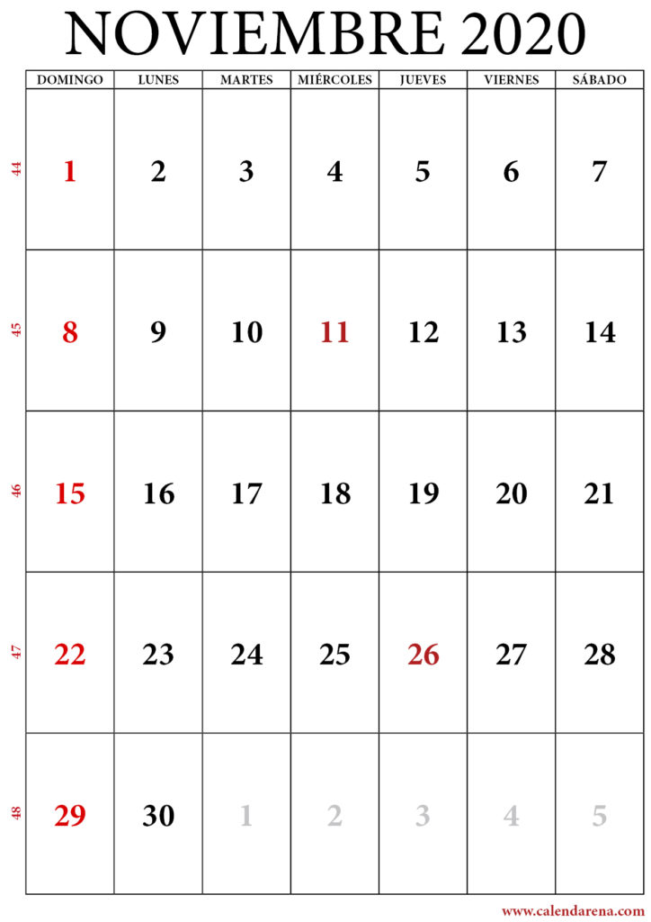 noviembre calendario 2020 retrato