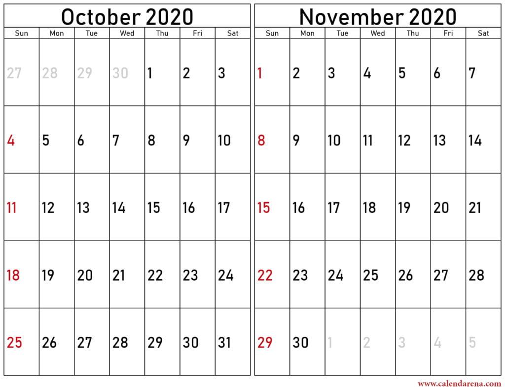 October & November 2020 calendar