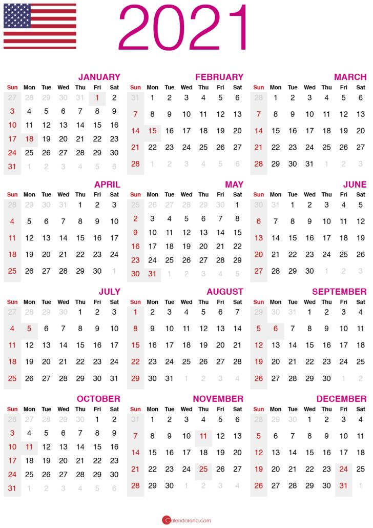 2021 calendar printable usa
