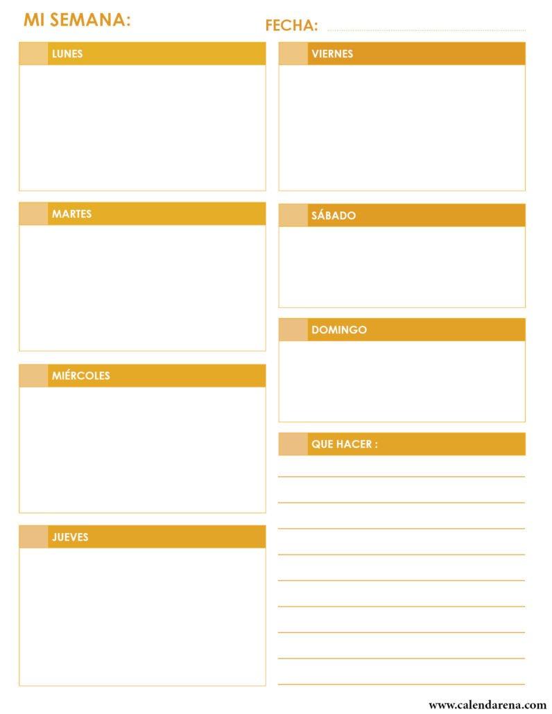 Calendario diario para imprimir Retrato amarillo