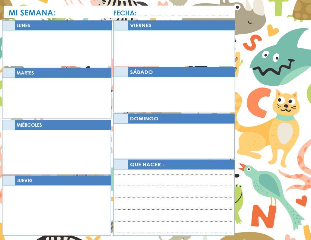 Calendario imprimible en blanco para niños paisaje azul