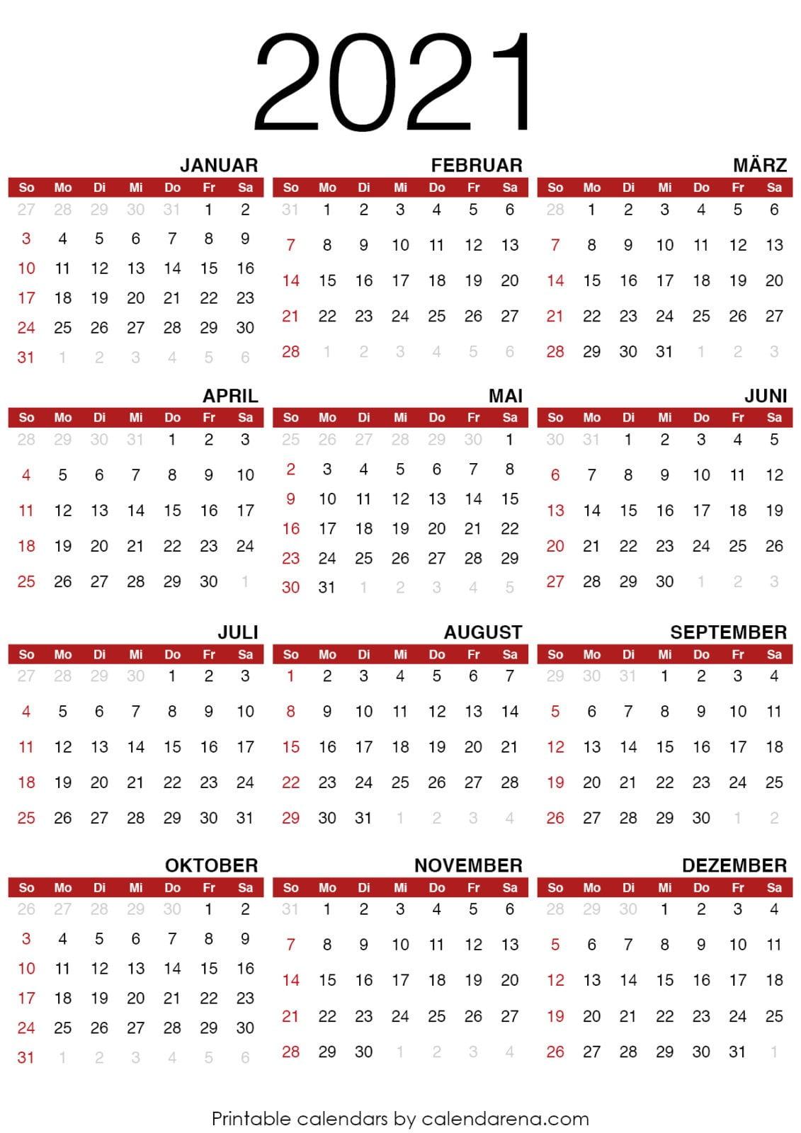2021 Kalender zum ausdrucken - Calendarena