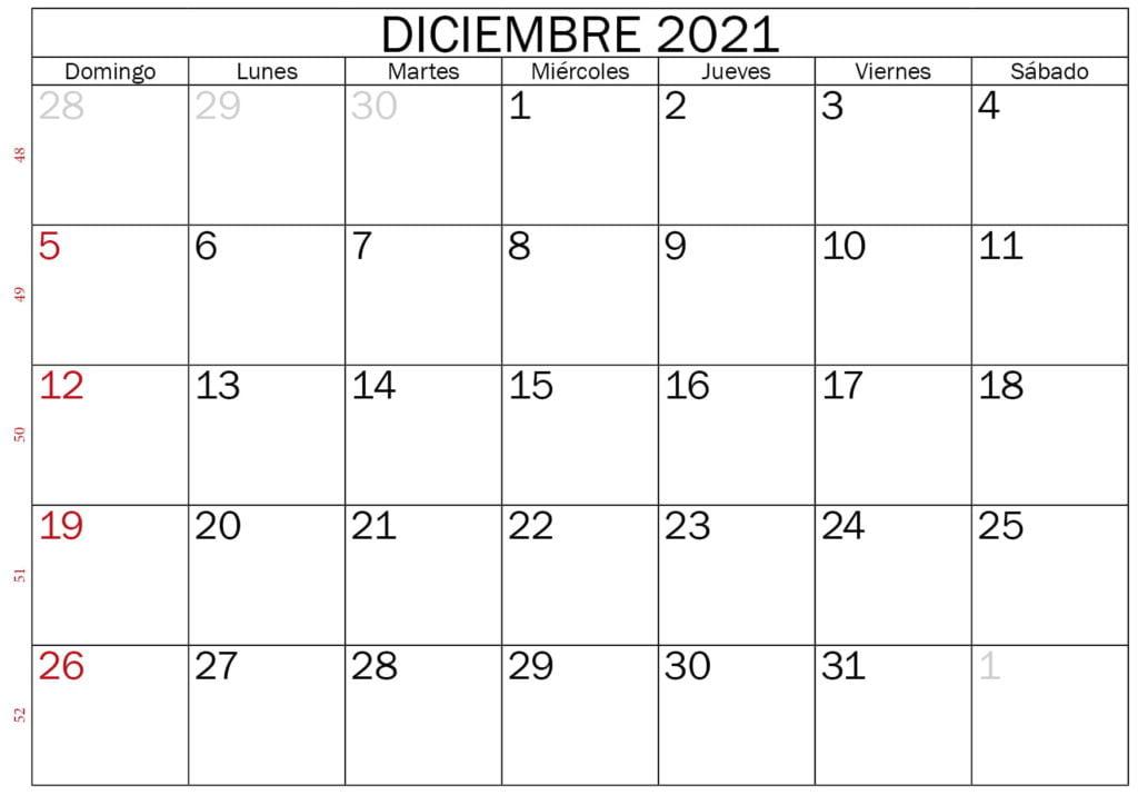 calendario en blanco para imprimir diciembre 2021