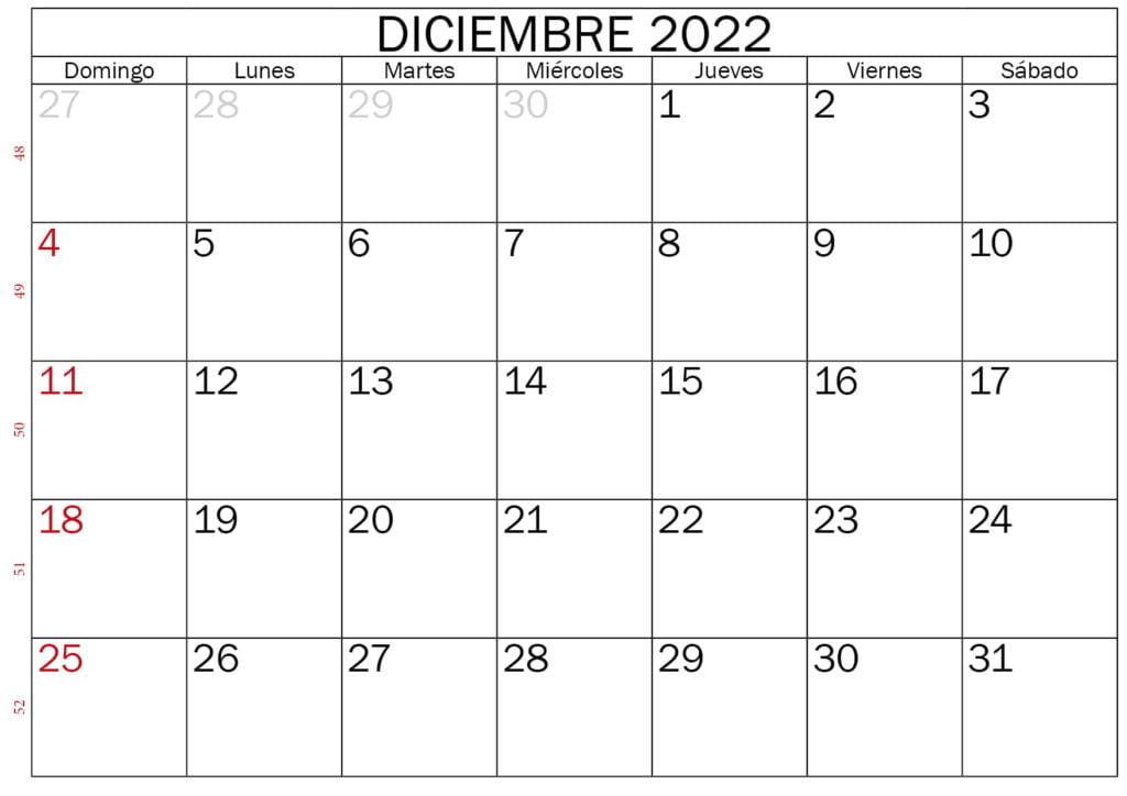 calendario en blanco para imprimir diciembre 2022