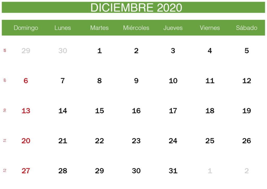 calendario verde de diciembre de 2020