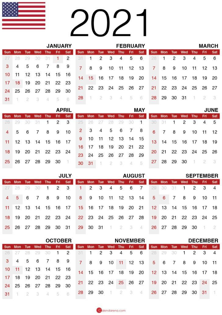 free printable 2021 calendar with holidays usa