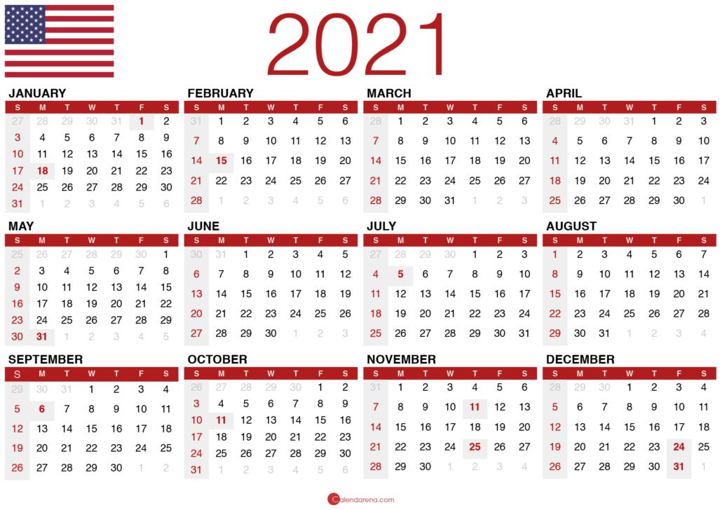 free printable calendar 2021 usa