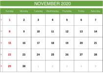green november 2020 calendar