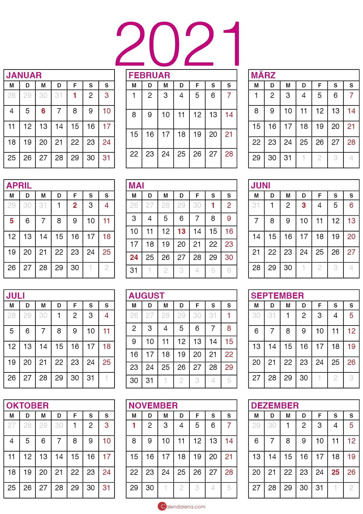 Kalender 2021 Mit Kalenderwochen Und Feiertagen 🇩🇪