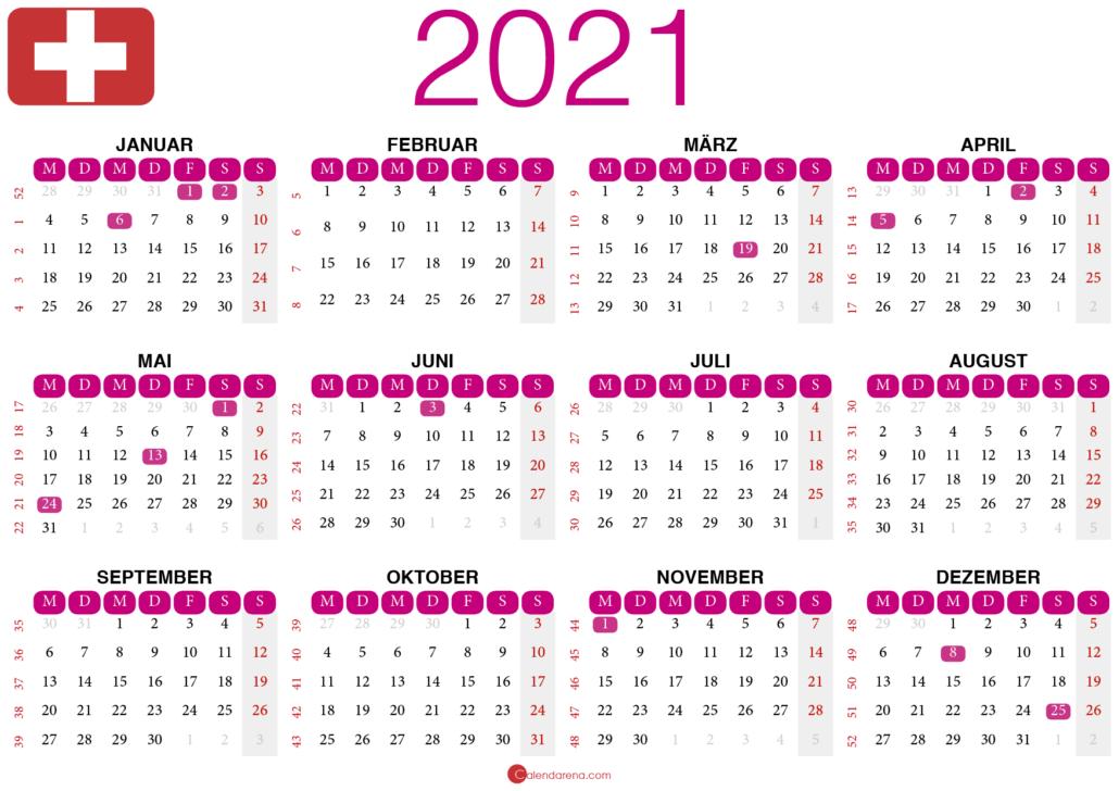 kalender 2021 zum ausdrucken Schweiz