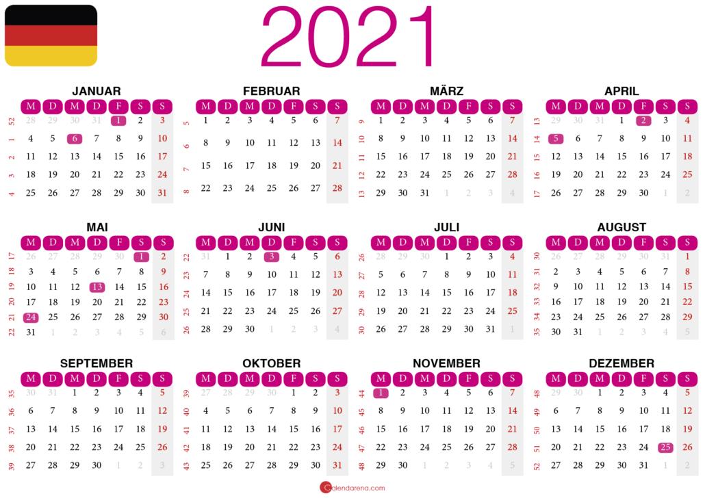 kalender 2021 zum ausdrucken Deutschland