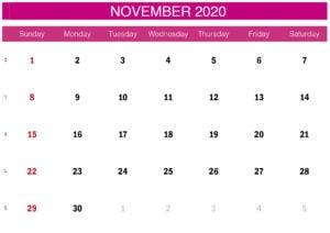 pink november 2020 calendar