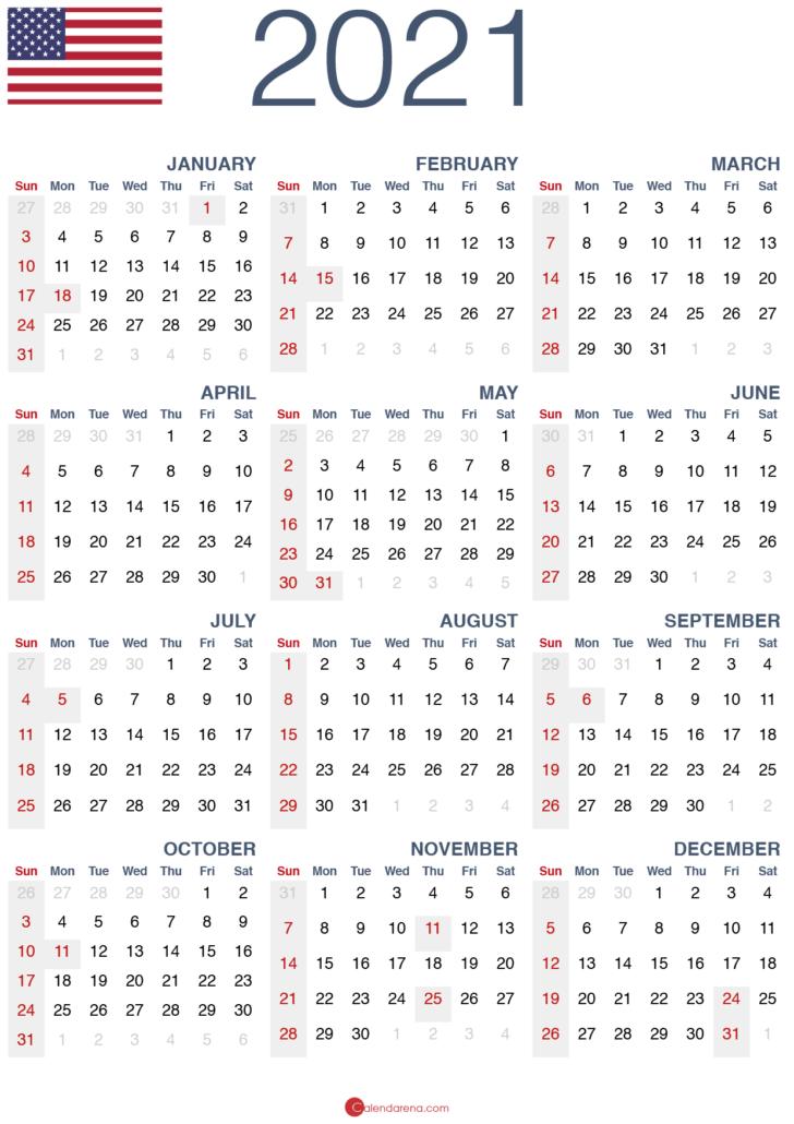 printable calendar 2021 usa