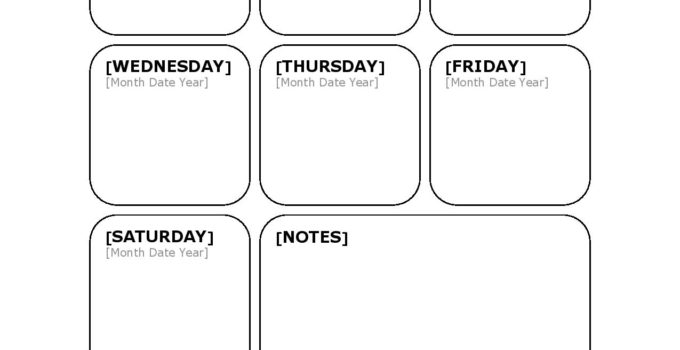 weekly blank calendar