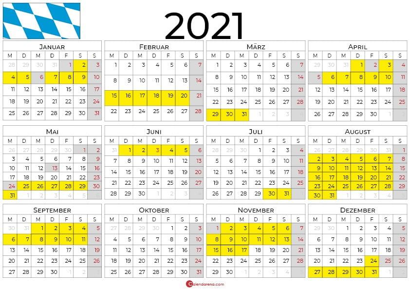 2021 kalender bayern querformat
