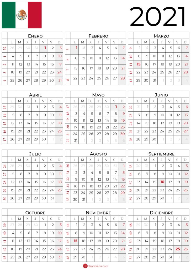 Calendario 2021 Mexico retrato